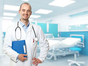 portrait of caucasian young doctor